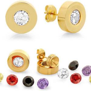 18 Karat Gold on Sterling Jewelry - NWT earring set Interchangables stainless steel
